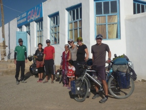 The four intrepid Swiss cyclists with Erali's family about to leave for Sary Tash. And I thought I was doing it tough.