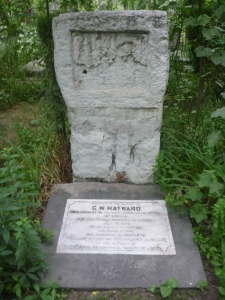 Headstone of G W Hayward's grave in British Cemetery, Gilgit