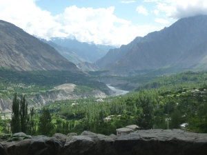 Sweeping views down the Hunza valley from the Old Hunza Inn