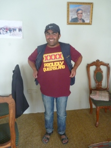 A little bit of home high in the Karakoram Range – Tanweer in his XXXX T-shirt!