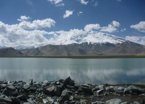 Looking south over Kara Kul to Muztagh Ata