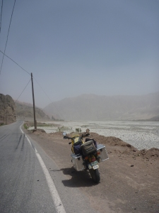 Heading straight into dust storm blowing up Ghez valley from Kashgar