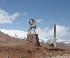 The Tajik border at Kyzyl Art Pass – complete with statue of the famous ibex.