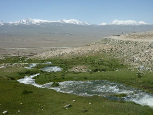 Looking down to the Pamir River valley, over to Afghanistan and the magnificent Wakhan Range