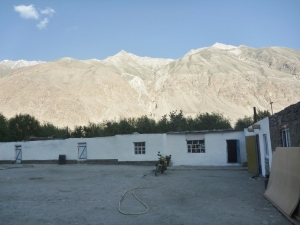 Ëdgar's Homestay – the mountains in the background are in Afghanistan.