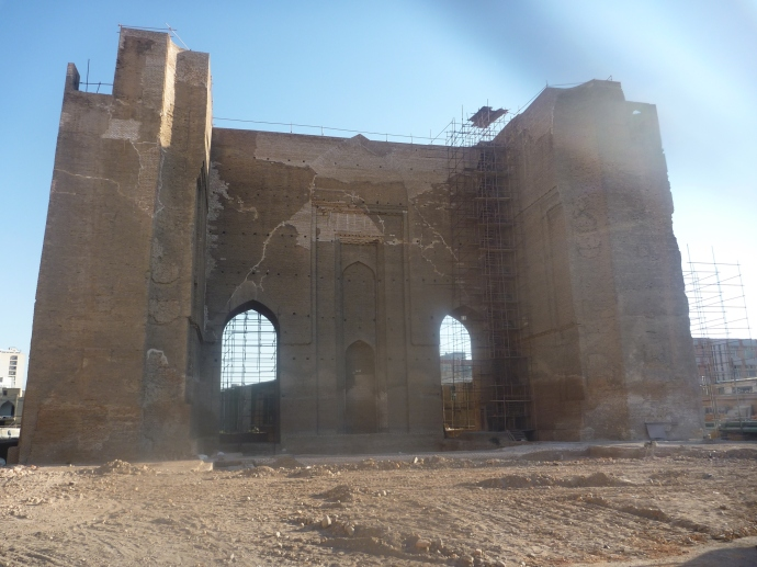 The ruins of  Arg-e Tabriz undergoing restorationThe