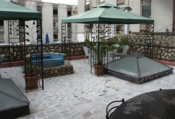 The rooftop beer garden - unfortunately without beer!
